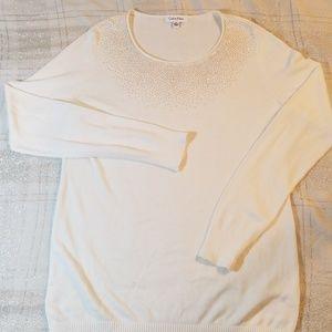 Calvin Klein ivory gold sweater M medium